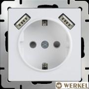 Розетка с заземлением, шторками и USBх2 Werkel белый