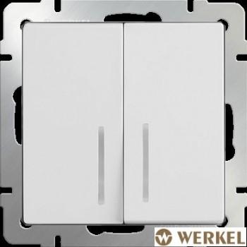 Выключатель двухклавишный с подсветкой Werkel белый