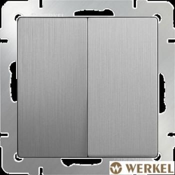 Выключатель двухклавишный проходной Werkel серебряный рифленый