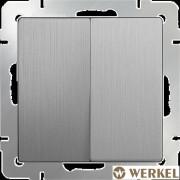 Выключатель двухклавишный Werkel серебряный рифленый