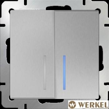 Выключатель двухклавишный проходной с подсветкой Werkel серебряный рифленый