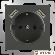 Розетка с заземлением, шторками и USBх2 Werkel серо-коричневый
