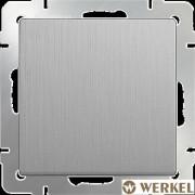 Выключатель одноклавишный Werkel серебряный рифленый