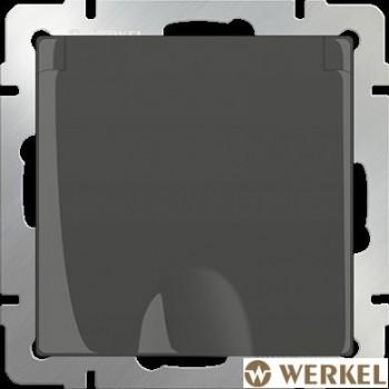 Розетка с/з с крышкой Werkel серо-коричневый