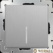 Выключатель одноклавишный с подсветкой Werkel серебряный рифленый