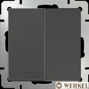 Выключатель двухклавишный проходной Werkel серо-коричневый