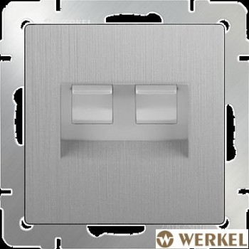 Розетка компьютер+телефон RJ-45+RJ-11 Werkel серебряный рифленый