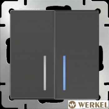 Выключатель двухклавишный с подсветкой Werkel серо-коричневый