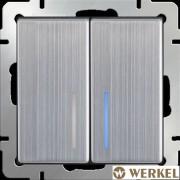 Выключатель двухклавишный с подсветкой Werkel глянцевый никель