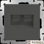 Розетка компьютерная двойная 2хRJ-45 Werkel серо-коричневый