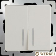 Выключатель двухклавишный с подсветкой Werkel слоновая кость