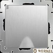 Розетка с/з с крышкой Werkel серебряный рифленый