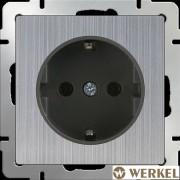 Розетка с/з и шторками Werkel глянцевый никель