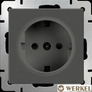 Розетка с/з и шторками Werkel серо-коричневый