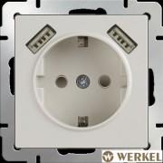 Розетка с заземлением, шторками и USBх2 Werkel слоновая кость